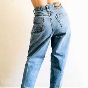 90s VTG EXPRESS Light Wash High Rise Tapered Mom Jeans Size 31 Waist